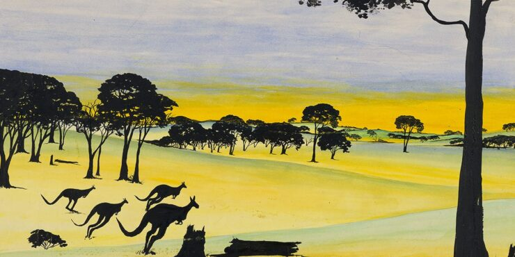 Barry Loo, Bounding for Home c1950, watercolor and black ink on paper, 302mm x 505mm. The Herbert Mayer Collection of Carrolup Artwork, Curtin University Art Collection. Gift of Colgate University, USA, 2013.