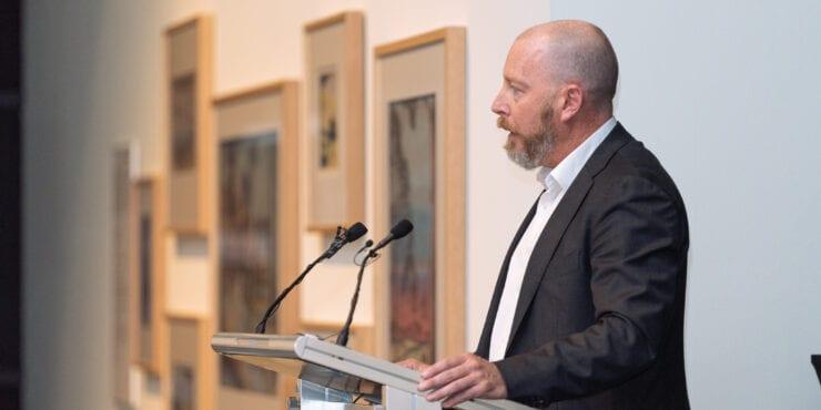 Meath Hammond speaks at the Carrolup Centre Establishment Ceremony