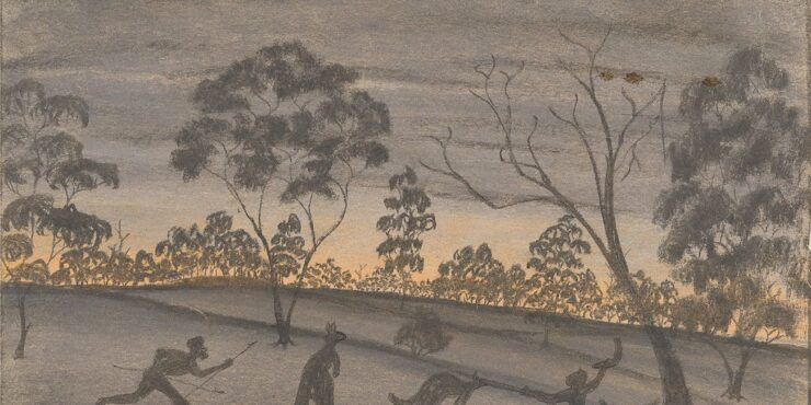 Once known child artist, Hunting – The Finish c1949, pastel and graphite on paper, 281mm x 384mm. The Herbert Mayer Collection of Carrolup Artwork, Curtin University Art Collection. Gift of Colgate University, USA, 2013. Image reproduced with permission of the Carrolup Elders Reference Group.