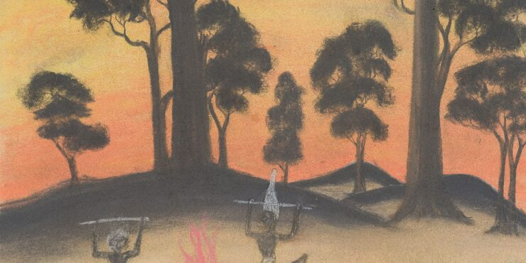 Once known child artist, On with the Dance c1949, pastel and graphite on paper, 281mm x 378mm. The Herbert Mayer Collection of Carrolup Artwork, Curtin University Art Collection. Gift of Colgate University, USA, 2013. Image reproduced with permission of the Carrolup Elders Reference Group.