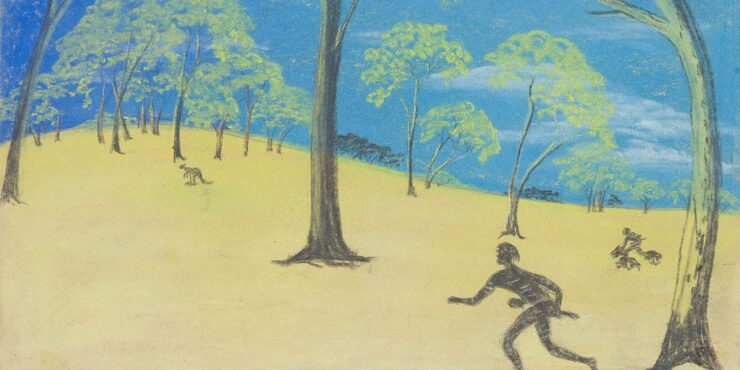 Once known child artist, Stalking c1949, pastel on paper, 218mm x 384mm. The Herbert Mayer Collection of Carrolup Artwork, Curtin University Art Collection. Gift of Colgate University, USA, 2013. Image reproduced with permission of the Carrolup Elders Reference Group.
