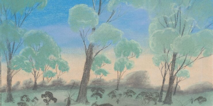 Once known child artist, The Blue of the Sky c1949, pastel on paper, 277mm x 379mm. The Herbert Mayer Collection of Carrolup Artwork, Curtin University Art Collection. Gift of Colgate University, USA, 2013. Image reproduced with permission of the Carrolup Elders Reference Group.