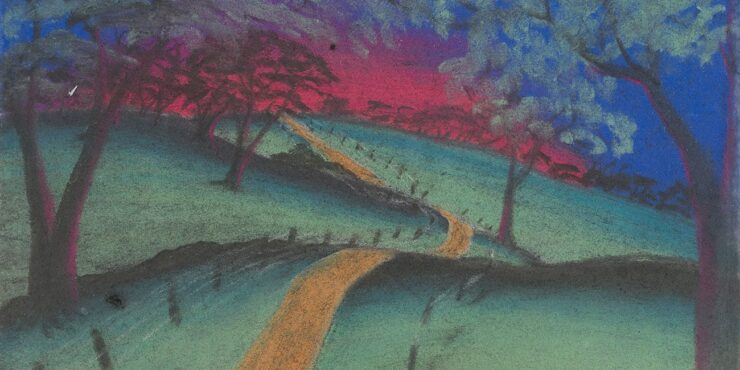 Once known child artist, The Fenced Road c1949, pastel on paper, 183mm x 245mm. The Herbert Mayer Collection of Carrolup Artwork, Curtin University Art Collection. Gift of Colgate University, USA, 2013. Image reproduced with permission of the Carrolup Elders Reference Group.