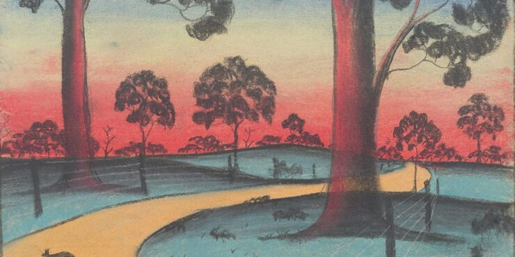 Once known child artist, The Golden Road c1949, pastel on paper, 280mm x 385mm. The Herbert Mayer Collection of Carrolup Artwork, Curtin University Art Collection. Gift of Colgate University, USA, 2013. Image reproduced with permission of the Carrolup Elders Reference Group.