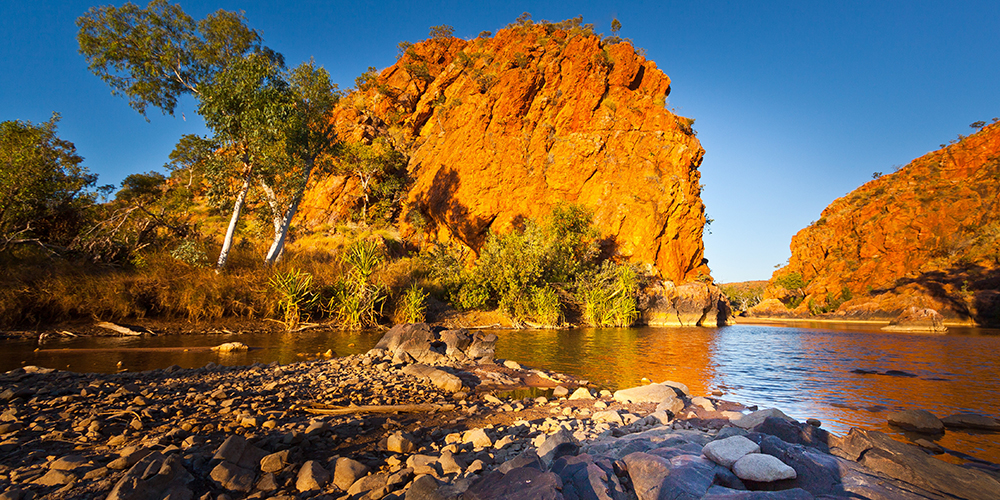 Late afternoon sun on a gorge on the Old River in the Kimberley Region of Western Australia - play video
