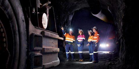 Mining students in an underground mine