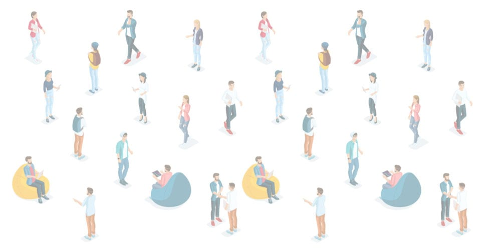 Cartoon of lots of people with white background