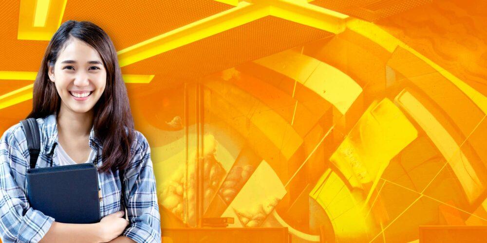 Female student against orange background