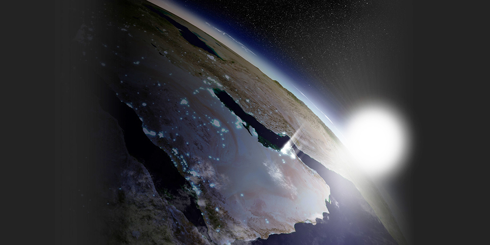 Sunrise from space over Earth