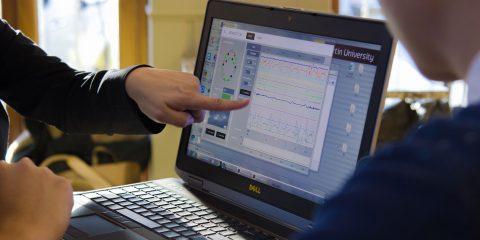 Laptop displaying data